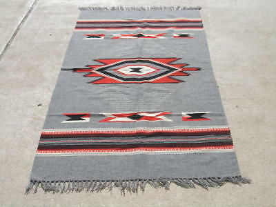 Excellent Vintage Grey Chimayo Weaving Rug Blanket 35x72 ""