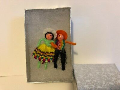 Guatemalan handmade tiny native people worry doll pin colorful & silver gift box