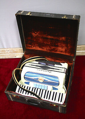 Vintage Rare Ferrari Accordian White Pearl & Blue Made In Italy w Hardshell Case