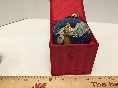 FIGI Christmas Ornament Reverse Painted Glass Heavenly Guardian 1999, New W Box