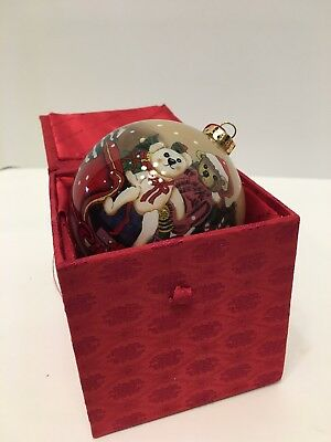 FIGI Christmas Ornament Reverse Painted Glass Teddy Bears in Sleigh, 1999  w/box