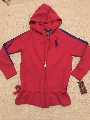 New Ralph Lauren Red Pink Bow Hoodie Jacket Age 6 Girl