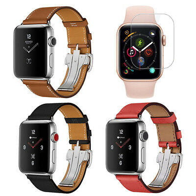 Genuine Leather Strap Band & Screen Protector Fit for Apple Watch Series 4/3/2/1