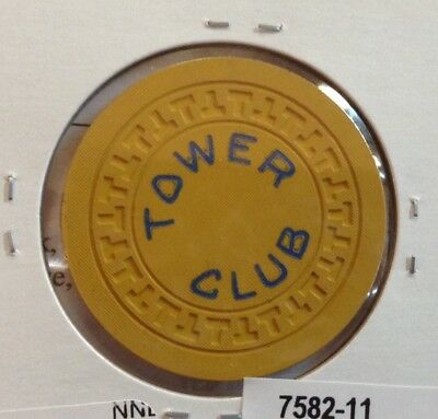 "Hot Springs AR Tower Club Illegal Casino Yellow ""T"" Mold Poker Chip NICE!! RARE!"