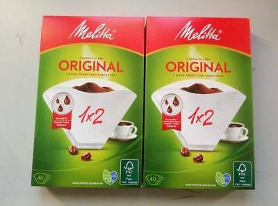 Pack of 2 Melitta Coffee Filter Papers 1X2 size box of 40 filters