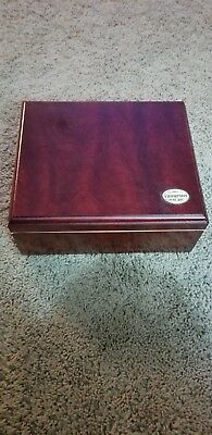 1915 THOMPSON & CO INC CHERRY WOOD CIGAR BOX HUMIDOR W/ HYGROMETER & Cutter
