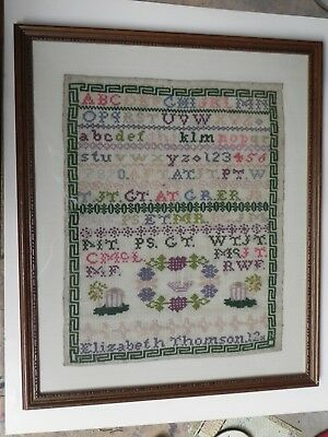 Original Antique New England Sampler-Elizabeth Thomson, 12 years old. Framed.