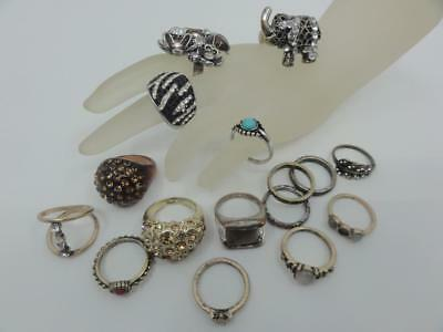Vtg Lot Fashion Ring Fossil Brand Stretch Elephant Adjustable Flower Ladybug ++