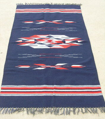 Excellent Vintage Navy Blue Chimayo Weaving Rug Blanket 35x74 ""