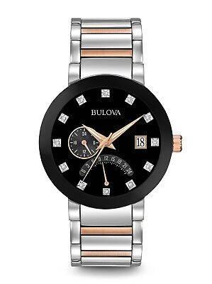 Brand New Bulova Diamond Two Tone Rose & Stainless Black Dial Men's Watch 98D129