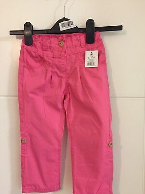 Girls Bnwt George Pink Cotton Trousers 2-3 Years