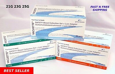 """21G,23G,25G Greiner Butterfly SAFETY Blood Collection Needles,12"""" Adapter, 50/BX"""