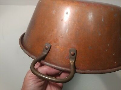 "Vintage French Solid Copper Jam Pan Cook Pot Planter 14"" (35cm) brass Handles"