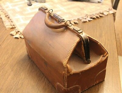 Large Leather Medical Suitcase Bag Brown Antique Doctors Case w/ First Aid Books