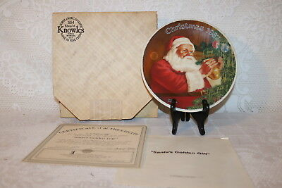 Norman Rockwell Collector Plate Knowles 1987 SANTAS GOLDEN GIFT Christmas Series