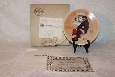 Norman Rockwell Collector Plate Knowles SANTA IN THE SUBWAY Christmas Series