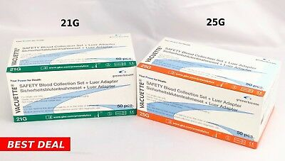 """21G, 25G  Combo Greiner Butterfly SAFETY Blood Collection Needles 12"""" Adapter"""