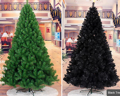 Christmas Tree Artificial Festive Xmas Green/Black with Metal Stand 5Ft/6Ft/7Ft