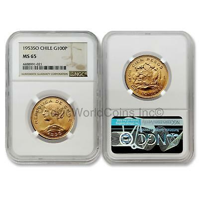 Chile 1953 SO 100 Pesos Gold NGC MS65
