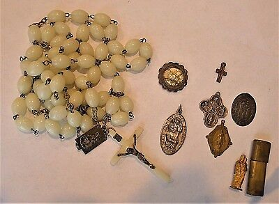 LOT OF 8  VINTAGE RELIGIOUS MEDALS, ROSARY, CROSS, PENDANTS, STATUE--Sterling