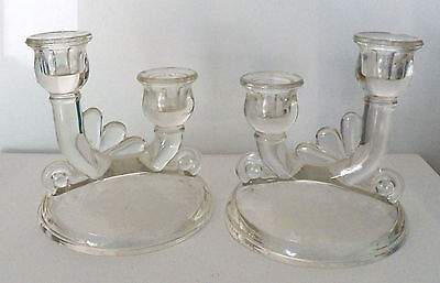 Decorative Collectible Two  Double Candle Holders With Frosted Maple Leaf Design