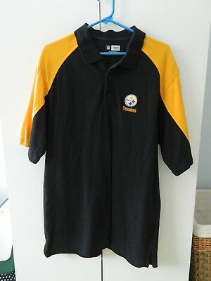 NFL Team Apparel PITTSBURGH STEELERS Mens Black Gold Polo Shirt Size L a8608a7d0