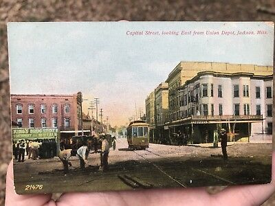 Antique CAPITOL STREET - UNION DEPOT - JACKSON, MISSISSIPPI trolley postcard