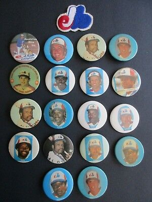 Vintage MLB Montreal Expos Pinback Pin Buttons - Macarons - Lot of 18 + Patch