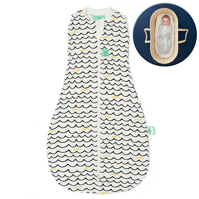 ErgoPouch Organic/Bamboo 0.2 TOG Cocoon Swaddle Bag 3-12m Baby/Infant Waves WHT