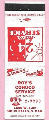Roy's CONOCO Gas in Sioux Falls, South Dakota, FS Matchcover