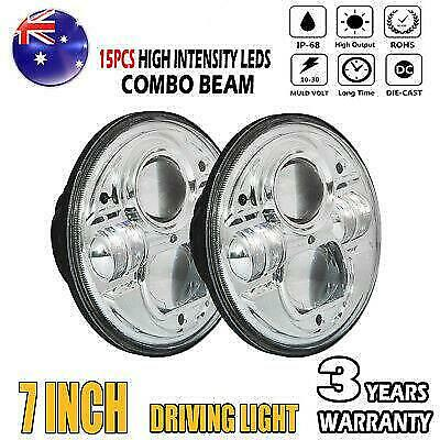 2x 7inch H4 200W High-Low Beam Round 4x4 DRL Headlight Offroad LED Driving Light