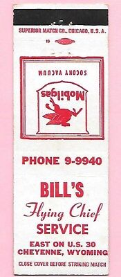 Bill's MOBIL Gas on US Highway 30 in Cheyenne, Wyoming, FS Matchcover