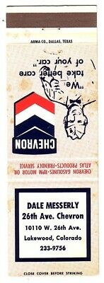 Dale Messerly CHEVRON Gasoline in Lakewood, Colorado, FS Matchcover