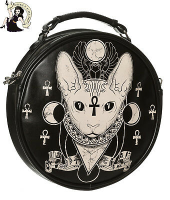 BANNED BASTET SPHYNX cat ROUND shoulder BAG alternative HANDBAG BLACK/CREAM