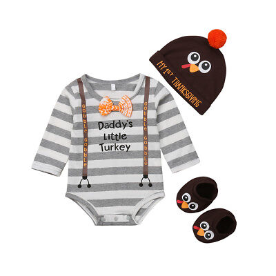 7678f8f3fc5 US Thanksgiving Day Newborn Baby Boy Girl Striped Romper+Hat+Shoes Outfit  Set