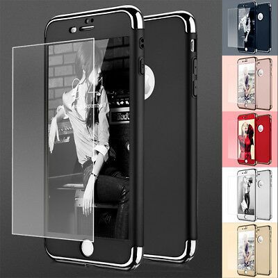 Shockproof Hard Thin Protective Case with Tempered Glass Cover For iPhone 7 6 6s