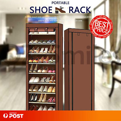 10 Tier Shoe Rack 27 Pairs Cabinet Storage Organiser Stand Dustproof Cover