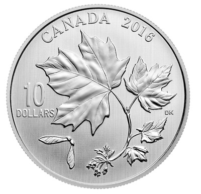2016  $10  Fine Silver Coin - Canadian Maple Leaves