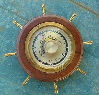Vintage Mahogany Cased Taylor Temp Compensated Barometer Nautical Theme