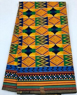African KENTE Print /African Print Fabric; GOLDEN YELLOW, MULTI-COLOR, 6 Yards