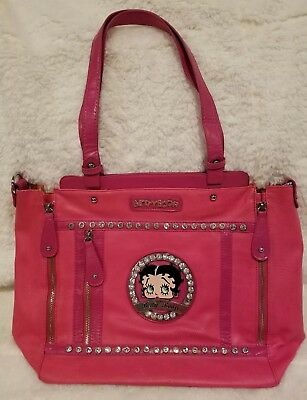 3f32b8bc4aaa Betty Boop Large Pink Handbag Purse Adorned w  Rhinestones and Silver  Hardware