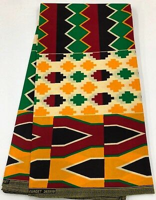 6 Yards African KENTE Prints /African Print Fabric; GOLDEN YELLOW, MULTI-COLOR