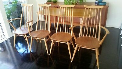 Mid Century Retro 4 X Ercol Solid Timber Goldsmith design DINING CHAIRS Vintage