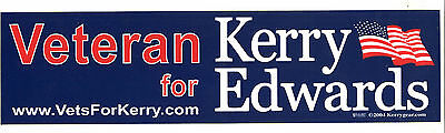 John Kerry and John Edwards Veteran Bumper Sticker (2004) Presidents Race