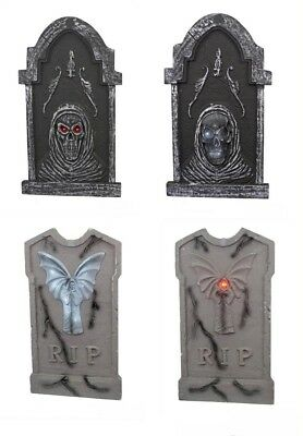 Home Accents Holiday 36 In Tombstone Assortment LED Lights Grave Prop (Set of 4)