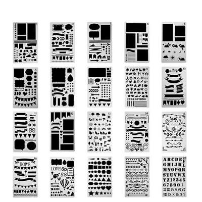 12/20Pcs Bullet Journal Stencils Template For Diary Scrapbook DIY Drawing SO