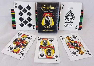 SHEBA Limited Edition Playing Cards 1996 Poker Size Black African Figure Sealed!