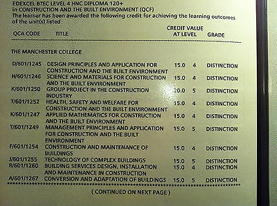 HNC Construction Coursework DISTINCTIONS IN ALL MODULES