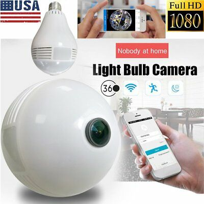 Wifi 360 degree Panoramic 1080P Hidden Home Security IP Mini Camera Bulb Light