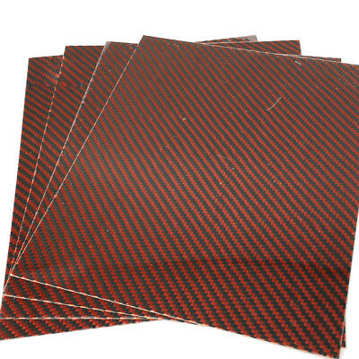 Thick 0.3mm 100% Carbon Fiber Plate Panel Sheet 3K Decor Red 200*250mm UK
